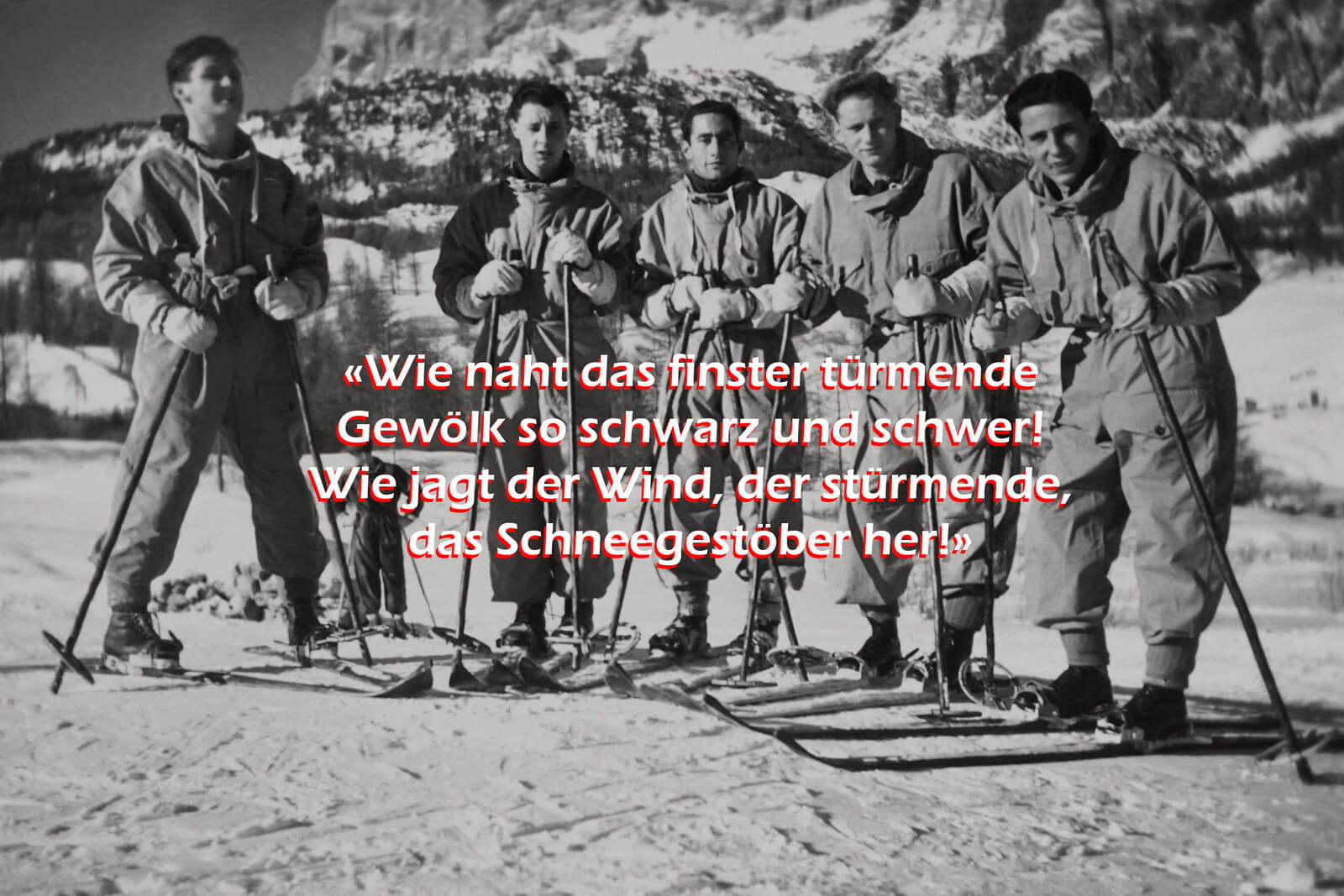 Vintage Photo of Skiers Reciting Gottfried Keller