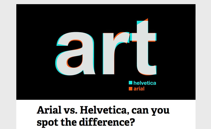 Arial vs Helvetica Font - Spot the Difference