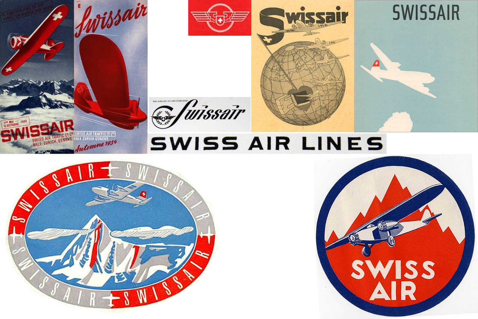 Swissair Posters and Logos - Early Swissair Logos