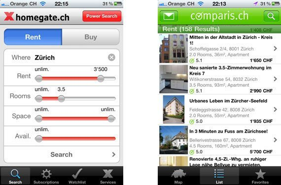 iPhone Apps for Apartment Renting in Switzerland