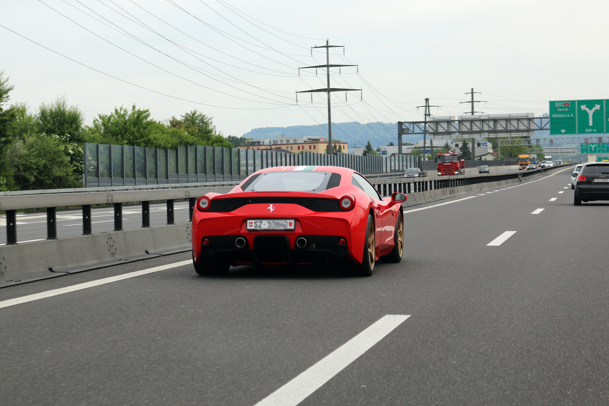 Ferrari on a Swiss Freeway