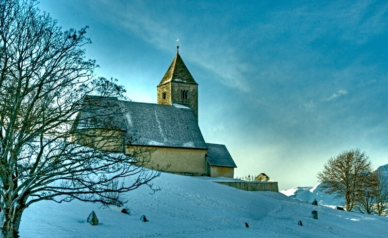 Learning to Ski in Laax - St.Remigius Church Falera