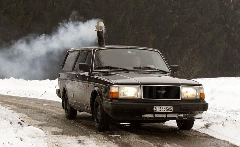 Swiss Volvo with a woodburning stove