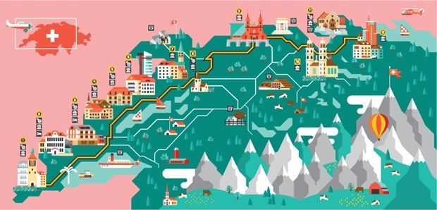 Switzerland Illustration for the GQ Watch Tour