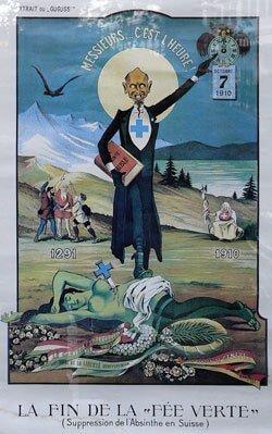 A poster criticizes the ban on absinthe in Switzerland (by Albert Gantner, 1910)
