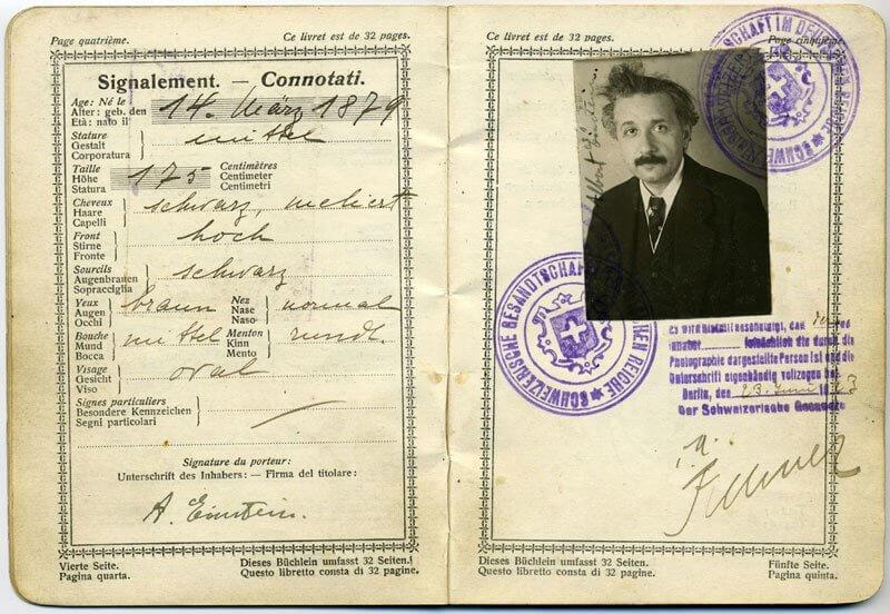 Albert Einstein - Swiss Passport