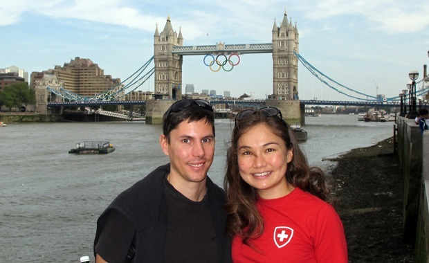 Swiss Visitors at the London Olympics - Tower Bridge