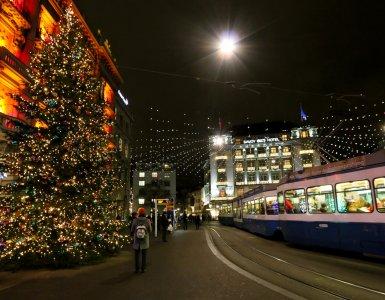 Paradeplatz Zurich during Christmas