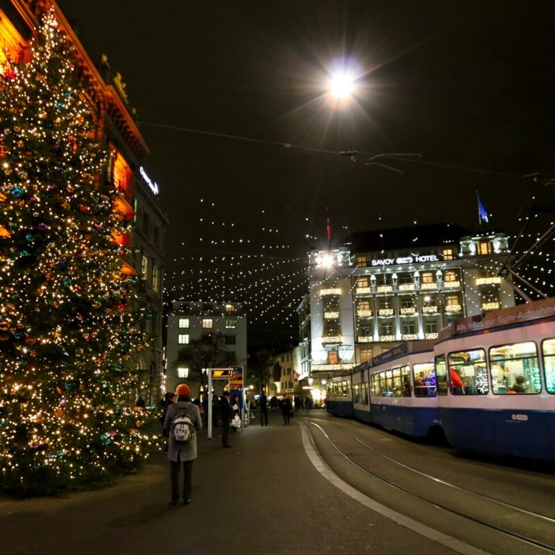 Paradeplatz Zurich during Christmas