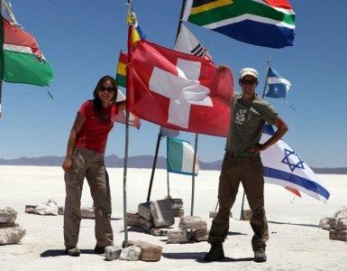Bolivia - Salar de Uyuni Swiss Flag