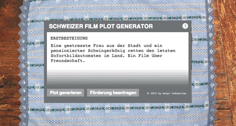 Swiss Movie Plot Generator