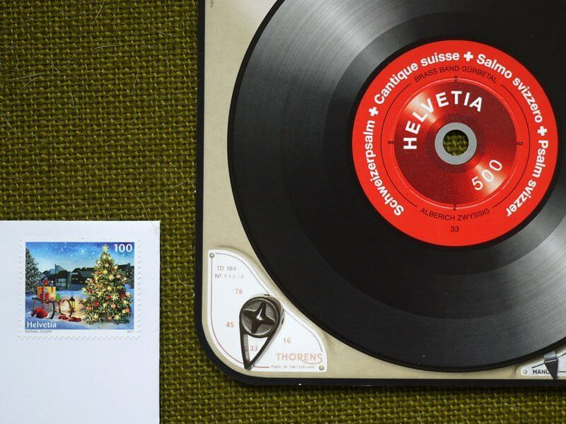 Swiss Record Player Stamp 2014