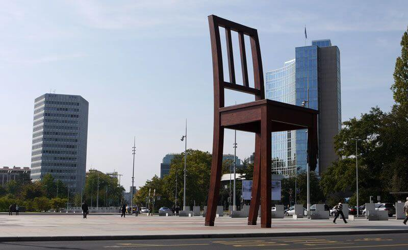 Geneva - Three-Legged Chair at United Nations