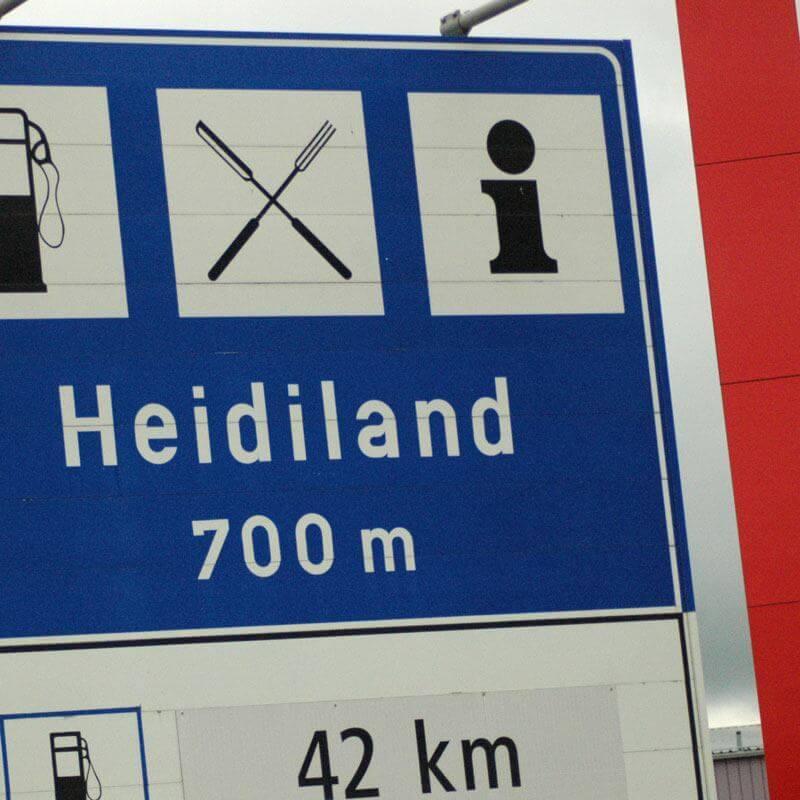 Heidiland Sign on Freeway, Switzerland
