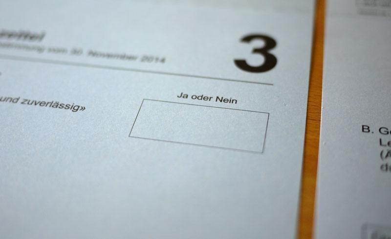 Swiss Direct Democracy - Voting Ballot