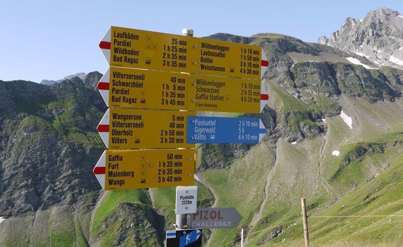 Hiking Path Sign on Pizol, Switzerland