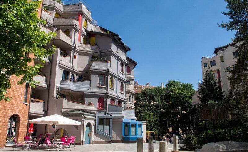 Schtroumpfs Smurfs Buildings in Geneva