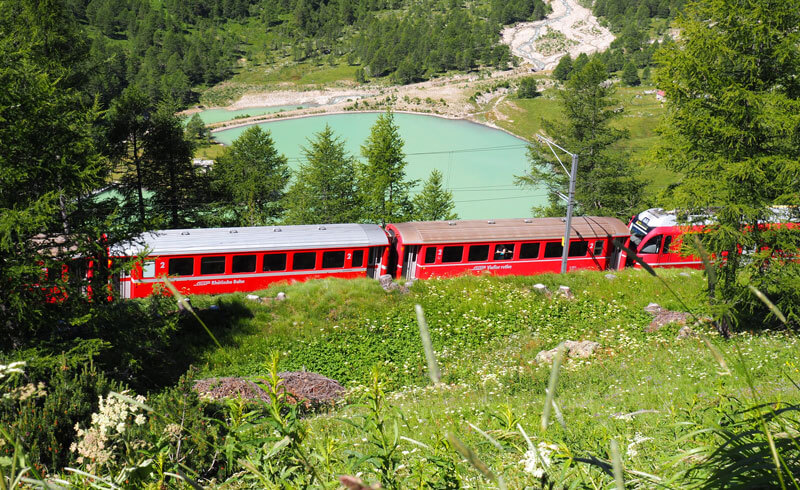 Bernina Express at Alp Grüm