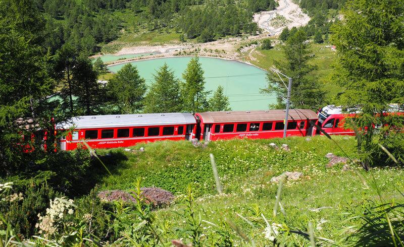 Bernina Express at Alp Grüm