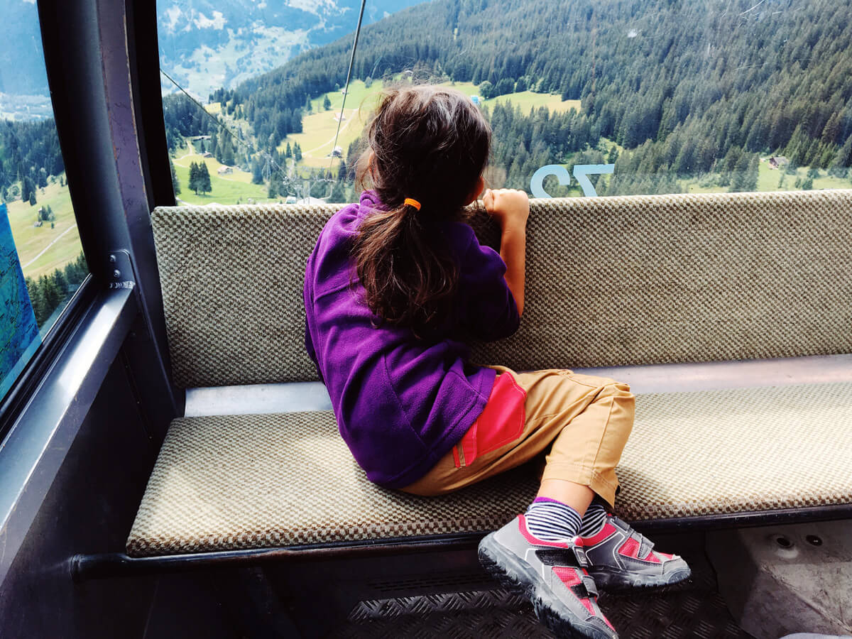 Grindelwald - Riding the cable car to Grindelwald First