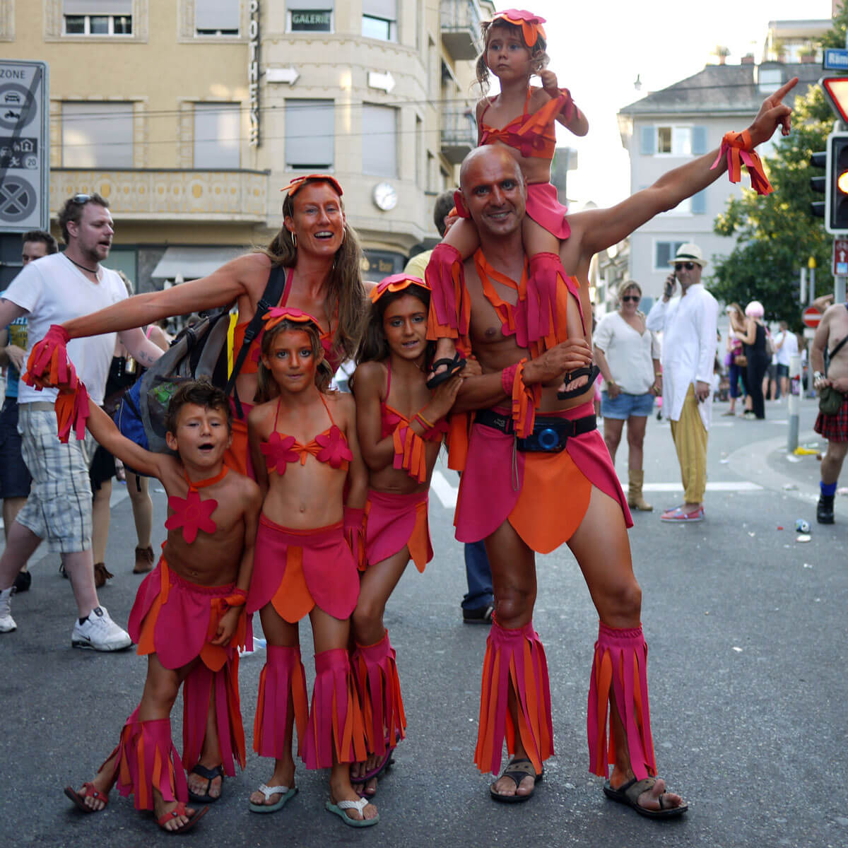 Swiss family at Street Parade in Zürich
