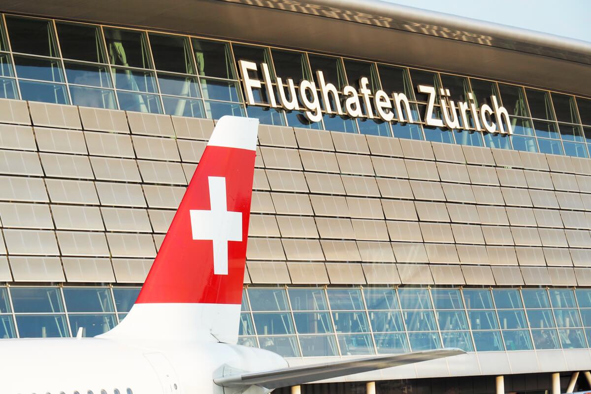 ZRH Zurich Airport with a SWISS aircraft