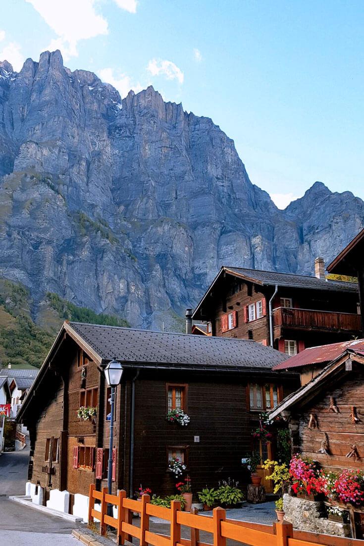 The town of Leukerbad in Switzerland