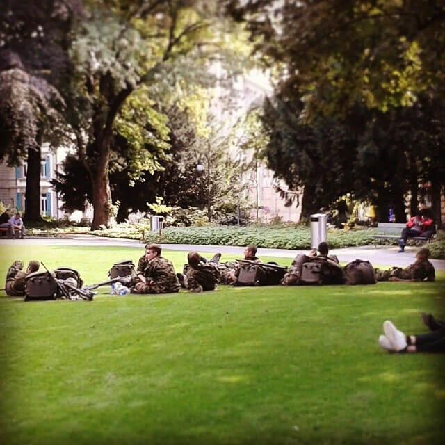 Swiss Army on a break
