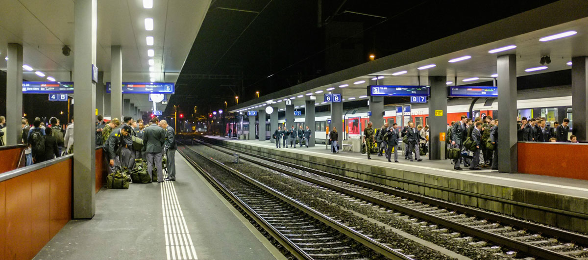 Swiss Train Station with Military