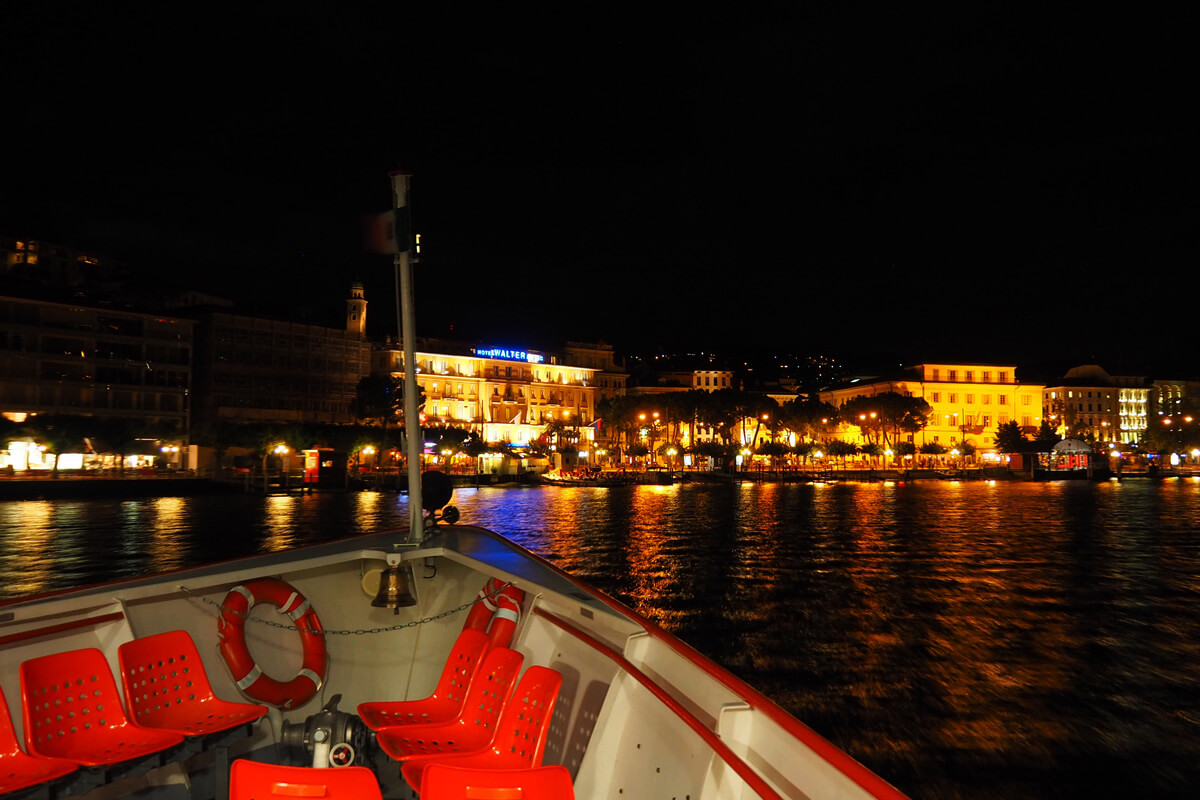 Lugano by night from a boat