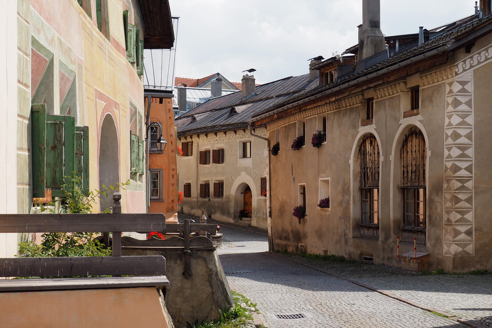 A street in Guarda in the Lower Engadine, Switzerland