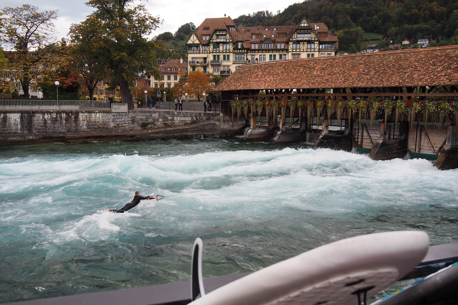Surfers on the River Aare in Thun, Switzerland