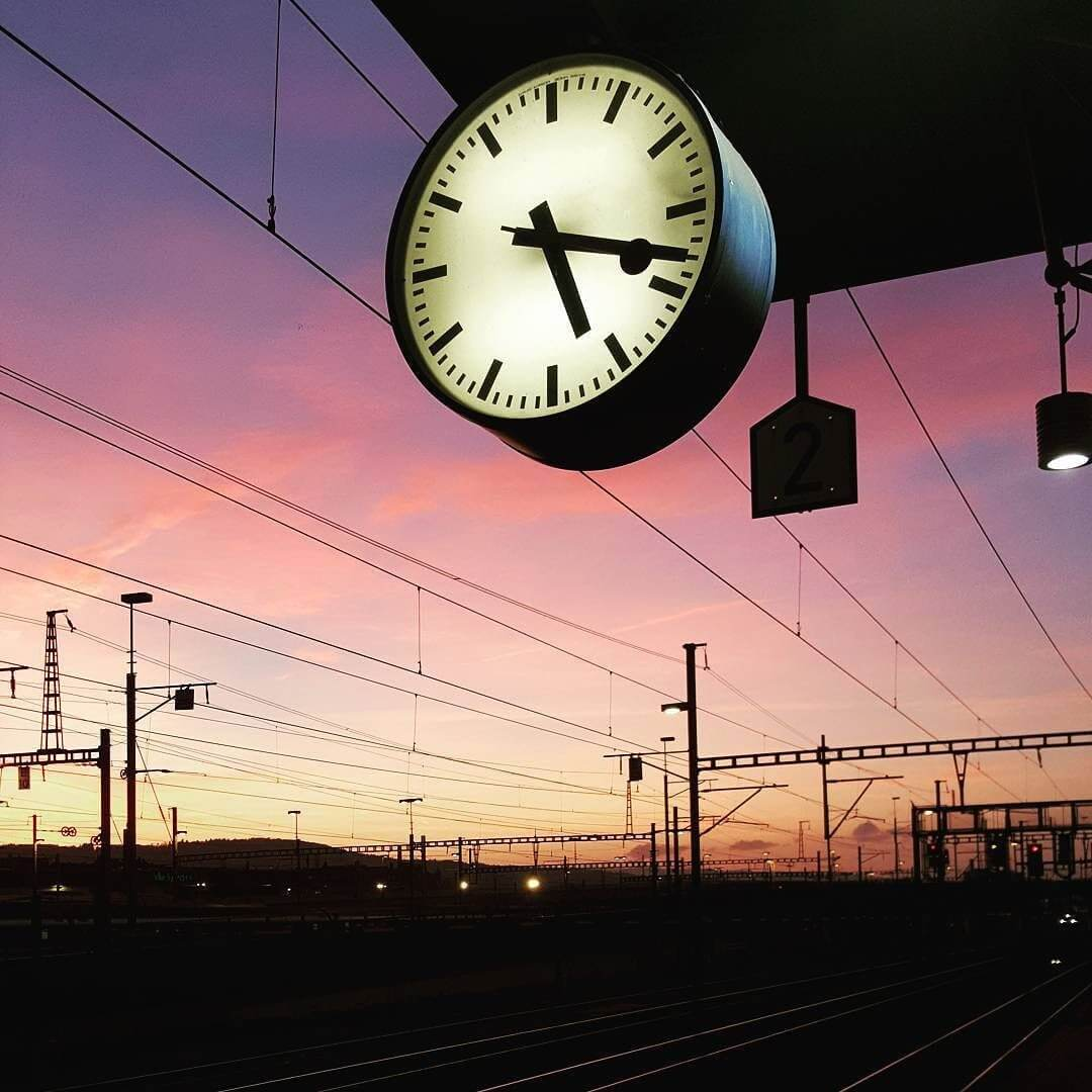 Mondaine Station Clock Sunset