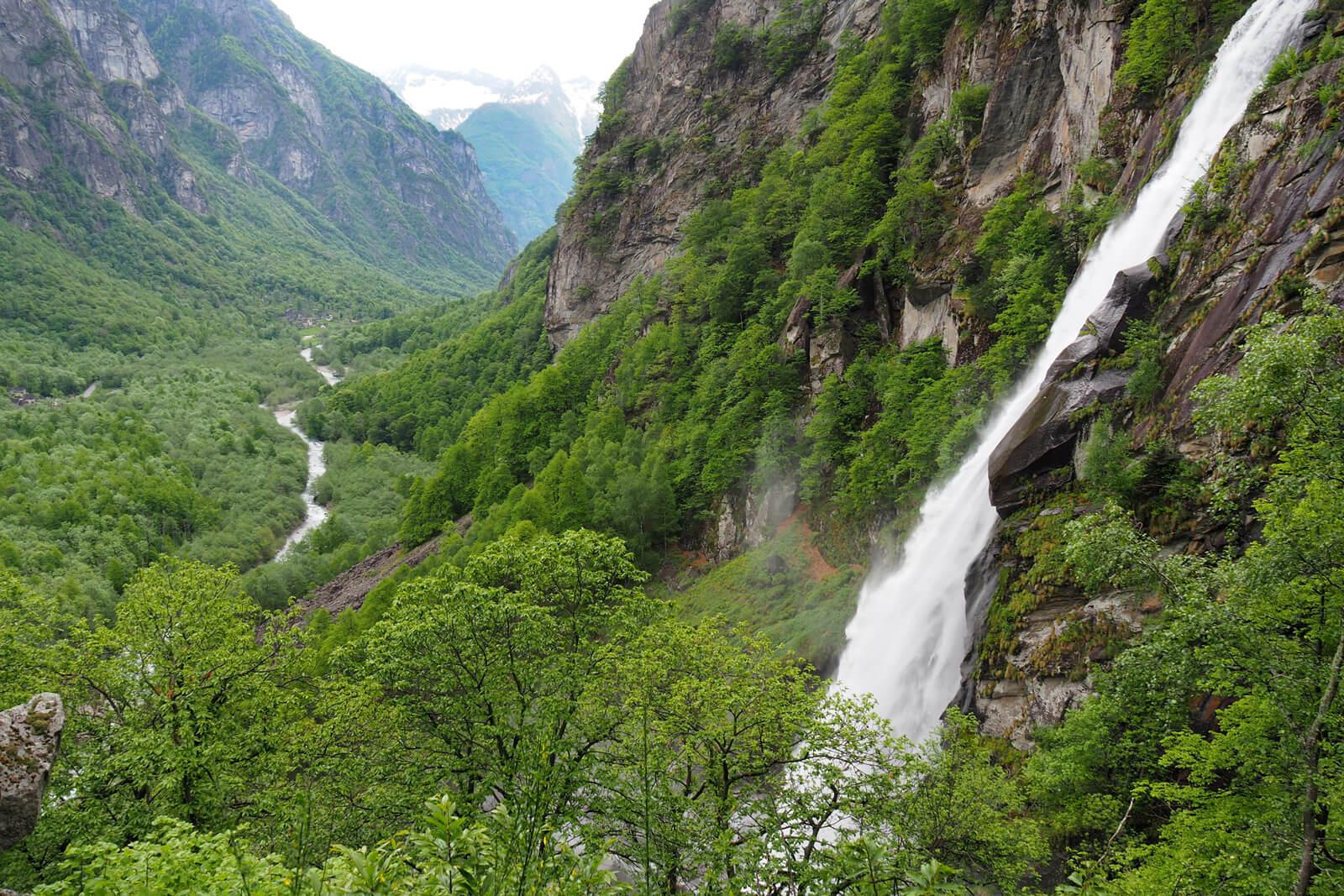 Foroglio Waterfalls in the Bavona Valley, Switzerland