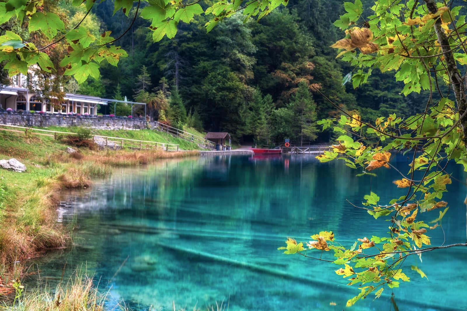 Lake Blausee in Switzerland during autumn
