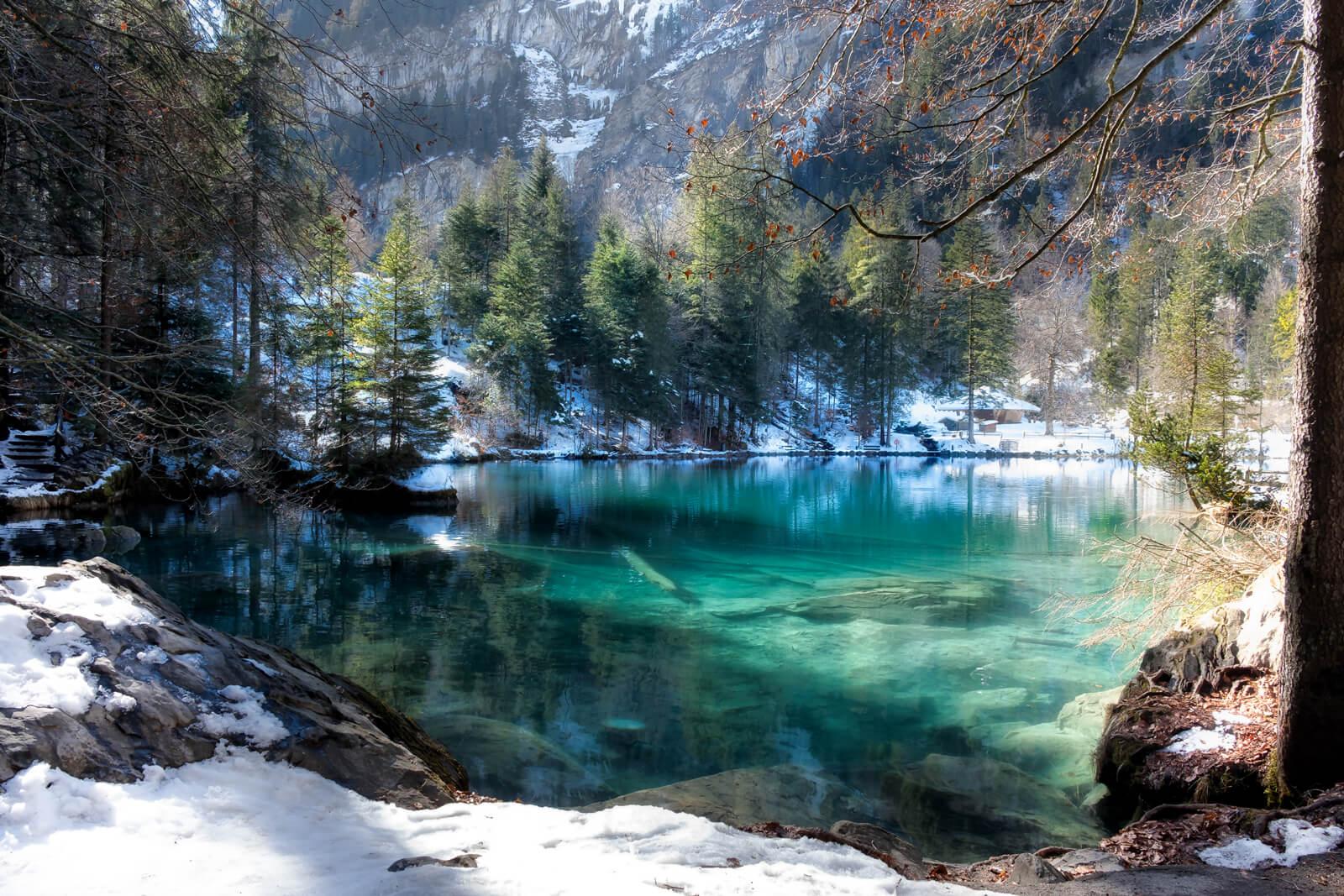 Lake Blausee in Switzerland during winter