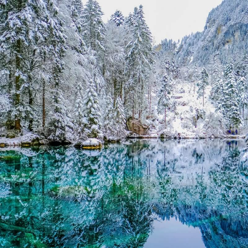 Lake Blausee in Switzerland during winter