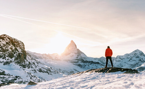 Man Looking at Matterhorn