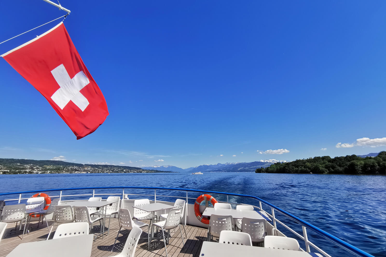 Lake Zurich Boat with Swiss Flag