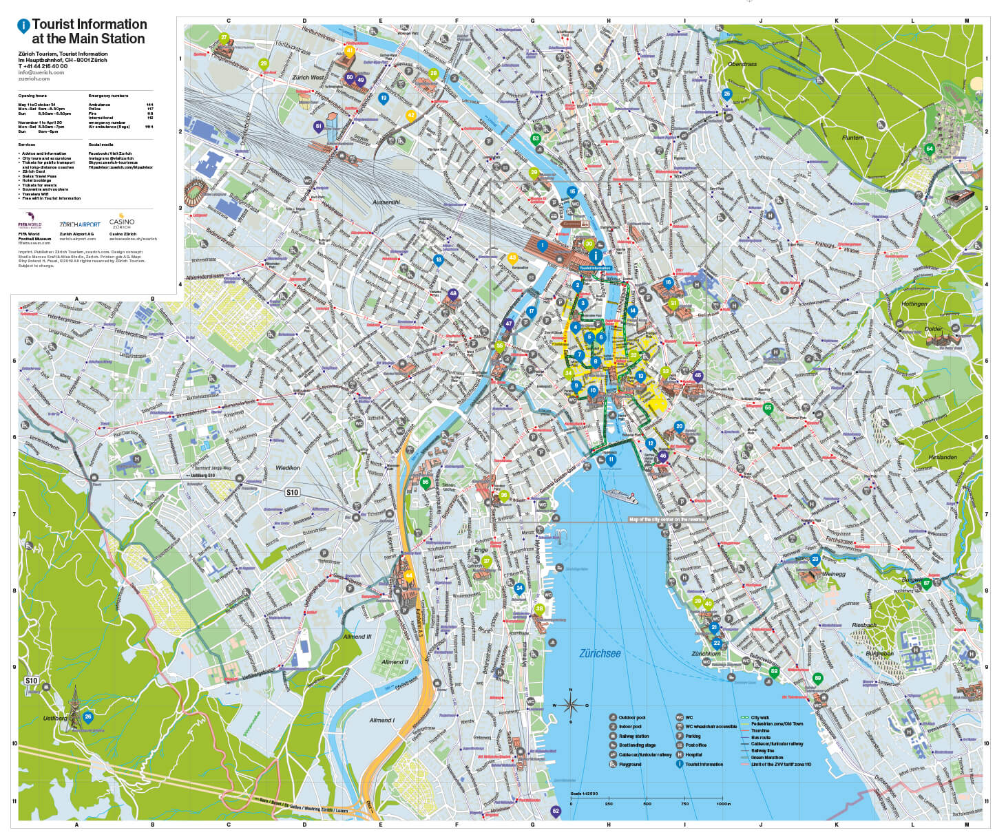 Zurich Tourism Map 2019