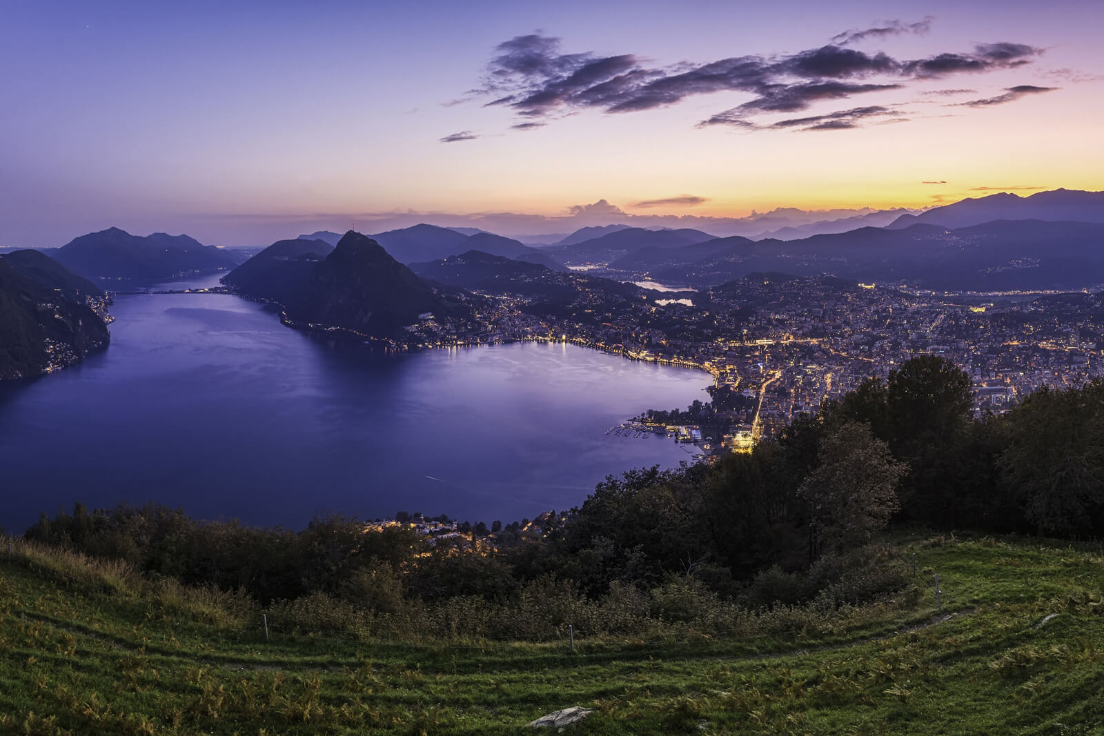 Lugano during sunset