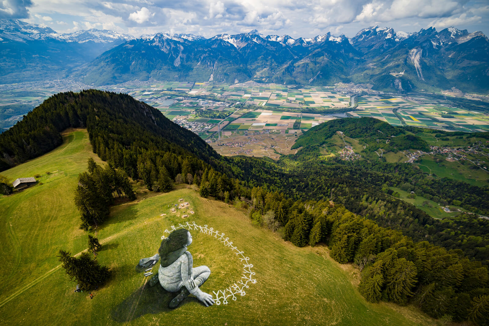 "Saype ""Beyond Crisis"" Painting in Leysin, Switzerland"