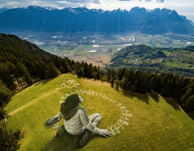 "Saype ""Beyond Crisis"" Painting in Leysin, Switzerland"