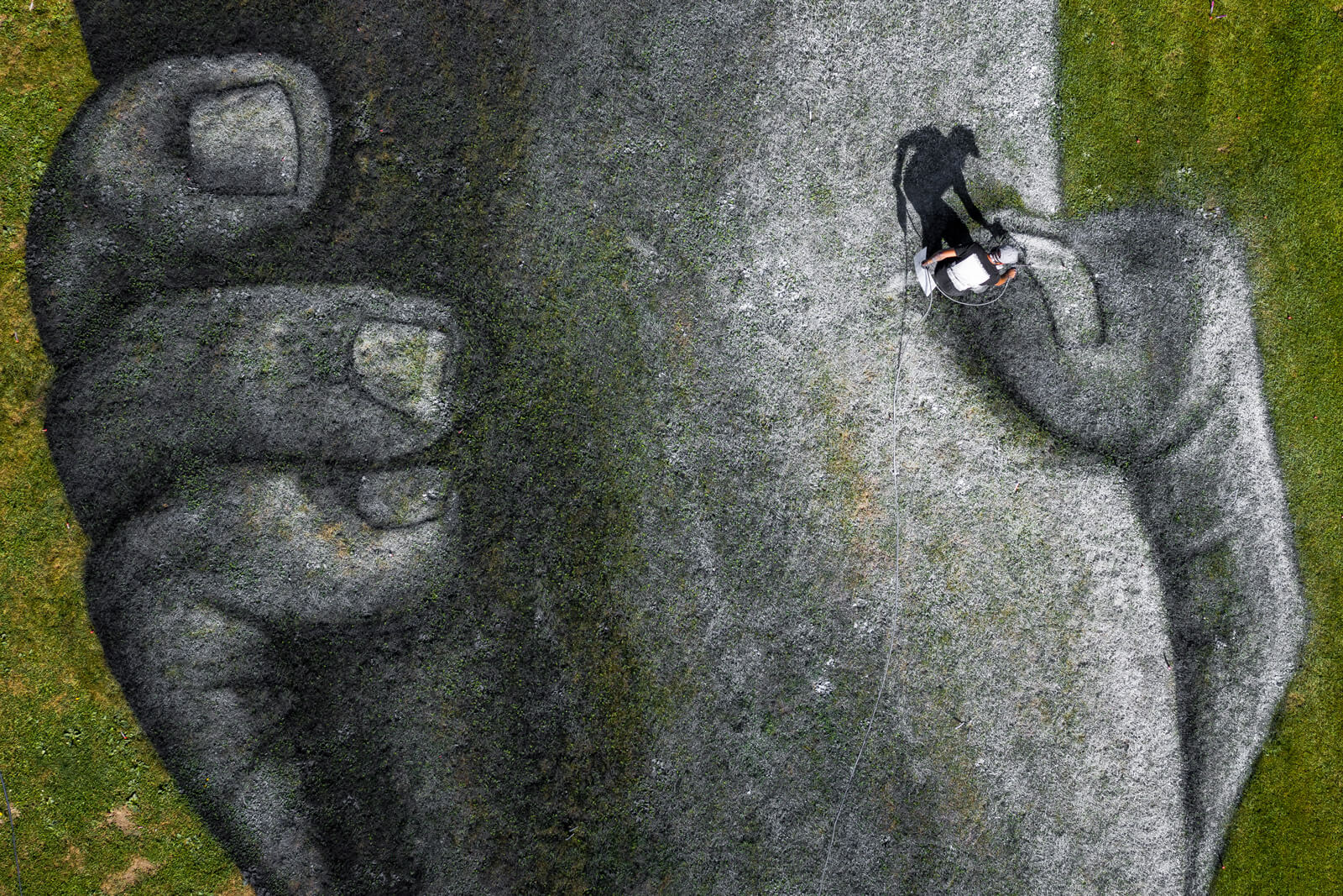 "Saype ""Beyond Walls"" Painting in Geneva, Switzerland"