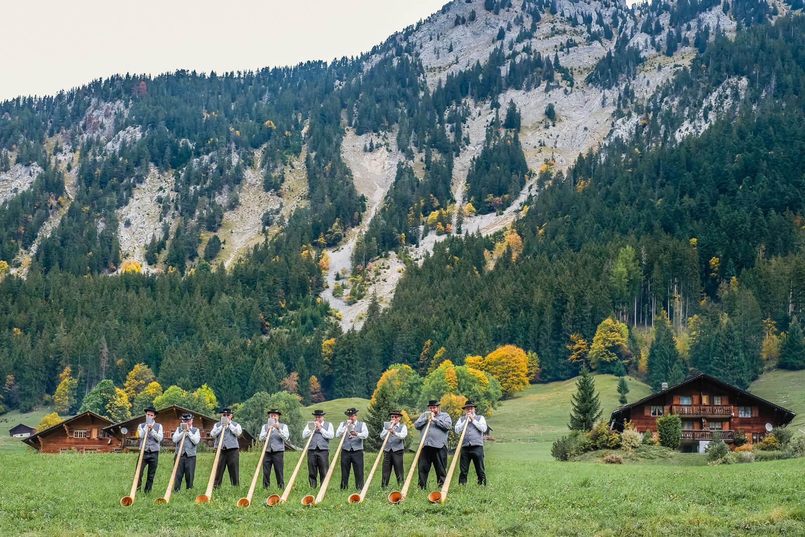 Alphorn Players in Switzerland