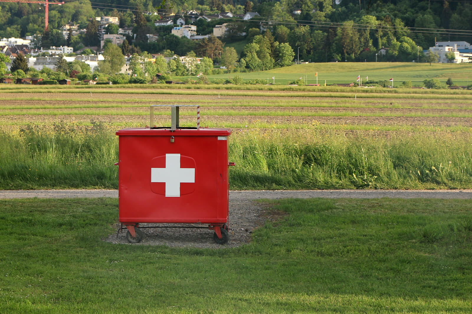 Garbage Container with Swiss Cross