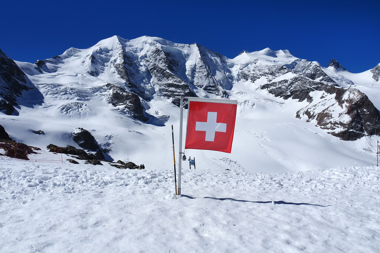 A Swiss Flag on the Diavolezza Glacier