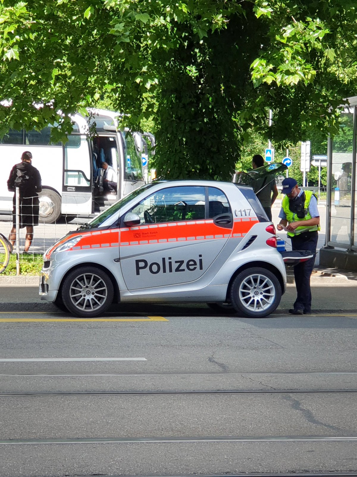 Smart police car in Zürich, Switzerland