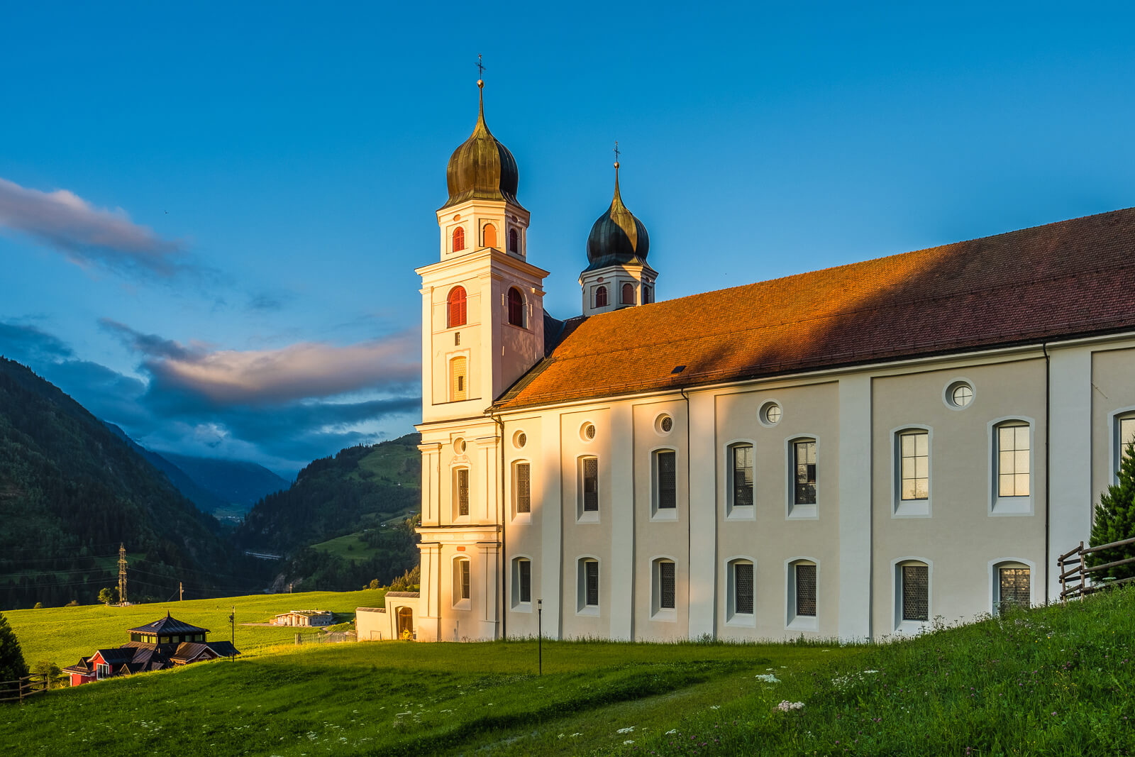Architecture of the Disentis Monastery in Switzerland