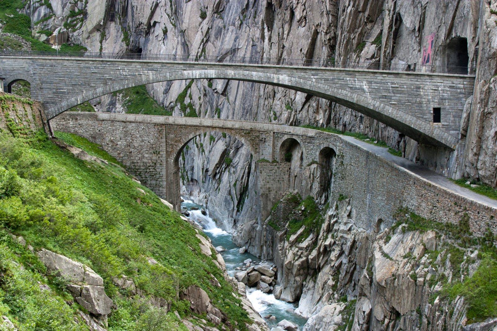 Old and new Devil's Bridge in Göschenen, Switzerland